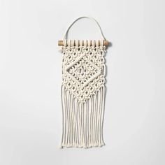 Opalhouse 5 Macrame Woven Cotton Wall Art with Natural Wood Wall Sculpture Cream Tapestry - Opalhouse Wood Sculpture, Wall Sculptures, Wood Wall Art, Wall Art Decor, Wall Art Sets, Wall Tapestry, Natural Wood, Hand Weaving, Woven Cotton