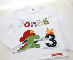 """Langarmshirts - Geburtstagsshirt """"Feuerwehr Drache"""" - ein Designerstück von Wichtelland bei DaWanda (Diy Shirts Boys)"""