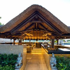 Outdoor living at home with a thatched gazebo, outdoor kitchen and seating area! Thatched House, Thatched Roof, Modern Gazebo, Bamboo House Design, African House, Tropical Architecture, Bamboo Architecture, Outdoor Gazebos, Natural Homes