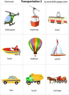 Free printable - Transportation flashcards