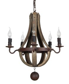 """New Mini ( 20"""") rustic wood and iron wine barrel chandelier  #Transitional"""