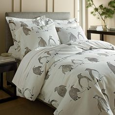 Penguin Parade Flannel Comforter Cover / Duvet Cover and Sham | The Company Store
