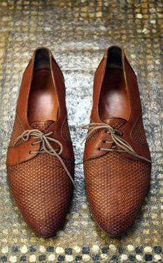 Woven leather oxfords!