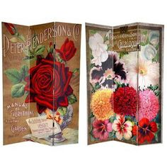 6 ft. Tall Double Sided Flower Seeds Canvas Room Divider - Roses