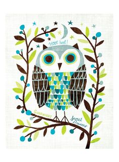 """Owl Art Print Kids Room Art - A colorful owl illustration to wish your little one goodnight. - Illustration by Michael Mullan - Printed on 13x19"""" archival, acid-free Epson Velvet Fine Art Paper - Show"""