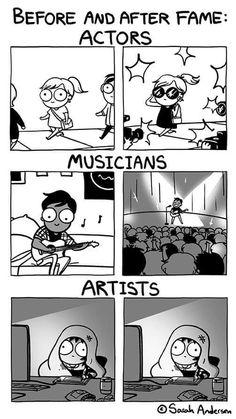 Fame by Sarah Andersen funny comics Fame by Sarah Andersen - Leben Ideen Art Memes, Memes Humor, Memes Arte, Meme Comics, Funny Texts, Funny Jokes, Funny Humour, Funny Fails, Sarah's Scribbles
