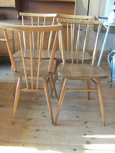 4 x MID-CENTURY ERCOL STICKBACK WOODEN DINING CHAIRS RETRO, VINTAGE | eBay