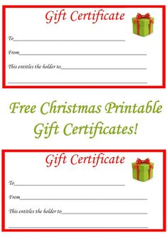 Free holiday gift certificates templates to print gift free christmas gift certificate printables yelopaper Image collections