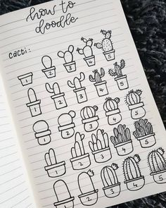 A short guide to drawing simple little cacti.A short guide to drawing simple little cacti.A short guide to drawing simple little cacti. Bullet Journal School, Bullet Journal Banner, Bullet Journal Aesthetic, Bullet Journal Notebook, Bullet Journal Ideas Pages, Bullet Journal Inspiration, Doodle Art For Beginners, Succulents Drawing, Cactus Drawing