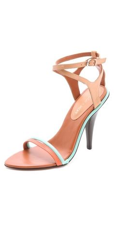 Rebecca Minkoff Bellina High Heel Sandals - loving the sliver of color Cute Shoes, On Shoes, Me Too Shoes, Shoe Boots, Shoes Sandals, Sexy Sandals, Heeled Sandals, Wedge Boots, Dream Shoes