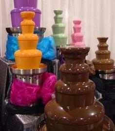 Fuente de chocolate de colores...
