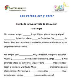 Los verbos SER y ESTAR. Para descargar e imprimir, haga click aquí: http://www.spanishclassroom.com/?p=4526