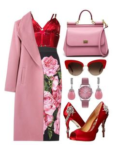 """Pink Coats"" by the-messiah ❤ liked on Polyvore featuring Henry London, Dolce&Gabbana, Bordelle and Badgley Mischka"