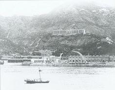 Royal Naval Dockyard on Bowen Road, as viewed from the Hong Kong Waterfront, 1910s.