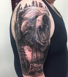 Wolf Tattoos Men, Leg Tattoos, Tattoos For Guys, Sleeve Tattoos, Cool Tattoos, Old School Tattoo Designs, Tattoo Designs Men, Roaring Bear, Mountain Sleeve Tattoo