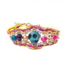 Neon Skull and Thread Bracelet