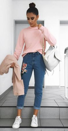 pretty cool outfit | pink sweatshirt + bag + jacket + embroidered jeans + sneakers