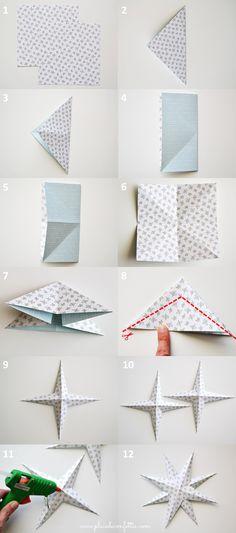 étapes DIY étoile en papier
