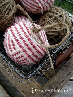 Twine and rag ball ornaments. So chic!