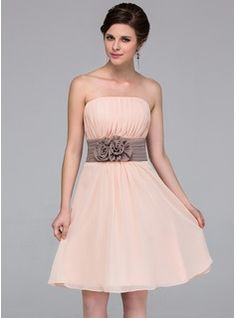 A-Line/Princess Strapless Knee-Length Chiffon Bridesmaid Dress With Sash Flower(s) (007037256) - JJsHouse