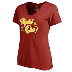 Women's Fanatics Branded Cardinal USC Trojans 2017 Rose Bowl Bound Hail Mary V-Neck T-Shirt