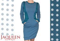 Kleid Punkte mit Taschen knielang Baumwolle von JaqueenFashion