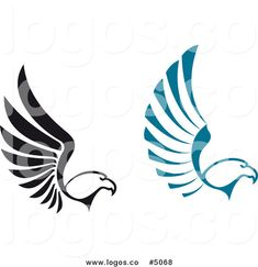 Royalty Free Vector of Black and Blue Flying Eagle Logos by ...