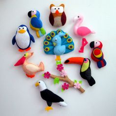 Felt Birds Collection , Fridge Magnets - Baby Toy , owl flamingo eagle penguin peacock parrots maccaws pelican toucan sakura branch
