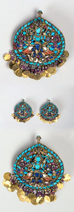 Nepal | Pair of earrings for a Deity, showing Vishnu riding Garuda | Gilt silver, rubies, sapphires, lapis lazuli, coral, shell, pearls, and turquoise | ca. 17th - 19th century