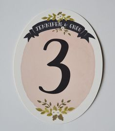 Oval Wedding Table Numbers Set of 10 Blush. $65.00, via Etsy.