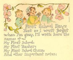 Antique Images: Vintage Baby Graphic: 1915 Vintage Baby Book School Days Scrapbooking Page