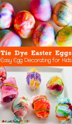 Tie Dye Easter Eggs: An easy mess-free tutorial for kids and adults to decorate colorful Easter eggs without a cup of dye. (toddler friendly)