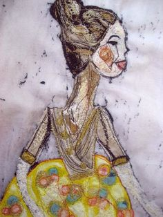 Cinderella - Free machine embroidery and applique on canvas