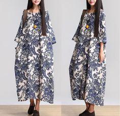 Women Cotton Linen Loose Fitting Long Maxi Dress Short Sleeve Summer Dresses - Buykud: