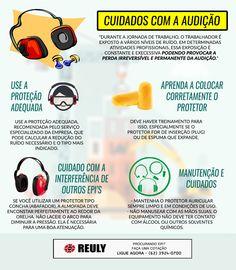 Cuidados com a audição - Confira:  Reuly SEGURANÇA NO TRABALHO  EPI GOIÂNIA   EPI GO   EPIS  www.reuly.com.br/ #segurança #segurançanotrabalho #epi