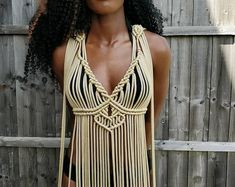 Macrame Dress, Boho Dress, Diy Crop Top, Crop Tops, Diy Clothing, Clothing Patterns, Les Miserables, Macrame Design, Bikini Cover Up
