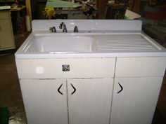 Very Similar To Sink Cabinet We Are Putting Into Kitchen Only Mirror Image Enameling The Metal Cherry Red