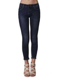 Shop Skinny Leg Pants - Dark Blue Viscose Casual Skinny Leg Pant online. Discover unique designers fashion at StyleWe.com.