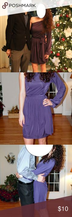*2 for $10* Gorgeous One Shoulder Cocktail Dress Baby Phat purple dress- feels silky in texture- polyester/spandex mix. I am a size 00 or xs usually, but this size medium fits- can tie dress with belt to cinch in the waist. Have worn to multiple NYE/holiday events. Doesn't look as good on the hanger but can provide any other pictures/measurements as needed. Truly great dress for winter/holiday parties with gold or silver. Smoke and pet free home. Baby Phat Dresses