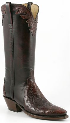Lucchese Classics Womens Black Cherry Buffalo Western Boots L4664