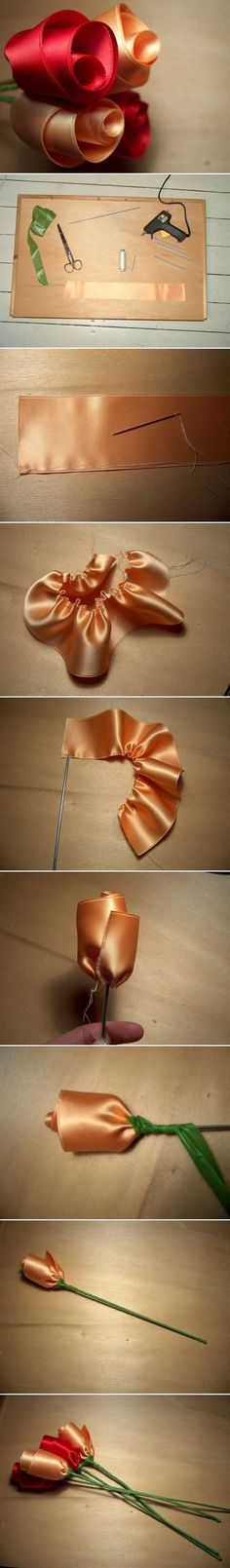 DIY Quick Satin Ribbon Roses --I made my wedding bouquet & bridesmaids flowers out of these, using material from my gown that I made & their dresses, too--back in 1974 --no patterns then, I made my own!