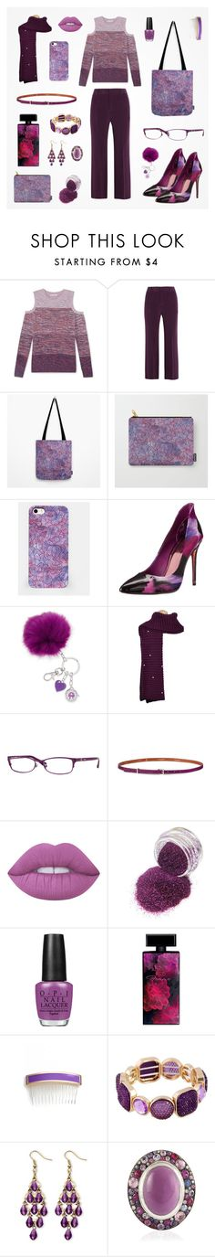 """""""Totally purple women outfit"""" by savousepate ❤ liked on Polyvore featuring Rebecca Minkoff, Joseph, Ted Baker, Vogue Eyewear, Maison Boinet, Lime Crime, OPI, Elizabeth Arden, L. Erickson and Palm Beach Jewelry"""