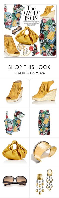 """The Heat Is On"" by leanne-mcclean ❤ liked on Polyvore featuring River Island, PatBo, The Row, John Hardy, Tory Burch, Chanel, fringe, croptop, Wedge and pencilskirt"
