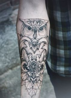 black and grey owl tattoo - Google Search