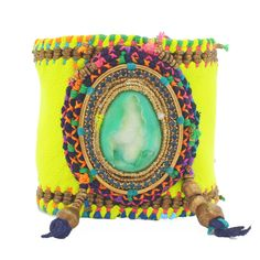 Indian summer neon leather cuff