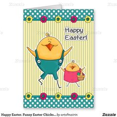 Happy Easter. Funny Easter Chicks Design Customizable Easter Greeting Cards for kids. Matching cards in various languages, postage stamps and other products available in the Holidays / Easter Category of the artofmairin store at zazzle.com