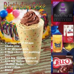 Birthday Cake Body By Vi Shake. Not sure about butter buds but everything else sounds good! Visalus Shake, Herbalife Shake Recipes, Protein Shake Recipes, Smoothie Recipes, Shake Shake, Healthy Recipes, Healthy Foods, Healthy Eating, Protein Smoothies