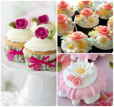 Baby shower cupcakes for girls vintage pretty cakes 57 ideas for 2019 - BABY, BABY - Kuchen Baby Shower Cupcakes For Girls, Baby Shower Desserts, Girl Cupcakes, Girl Baby Shower Decorations, Flower Cupcakes, Cute Cupcakes, Cupcake Cakes, Cupcake Ideas, Cupcake Pictures