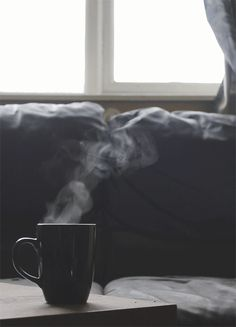 alternative, autumn, bed, coffee, cold, comfy, cosy, day, drink, grunge, hipster, hot, hot drink, indie, lazy, lazy day, photography, sofa, steam, tumblr, warm, winter
