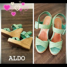 HostPickSuper cute Aldo wedges sz 37 Super cute Aldo wedges. Beautiful mint green color. Perfect for spring and summer. The darker spot you see in the shoes was from the gel pad i put on before. I only gently worn twice. I don't usually wear this high. In excellent condition and very clean. Size 37. Price is Firm. ALDO Shoes